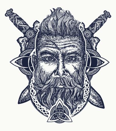 Ilustración de Viking tattoo, bearded barbarian of Scandinavia, crossed swords, god Odin, Symbol of force, courage; Scandinavian mythology, viking art print t-shirt design - Imagen libre de derechos