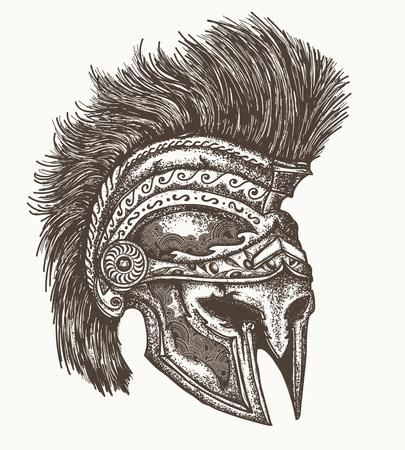 Illustration pour Ancient Spartan helmet hand drawn, Ancient greek war helmet - image libre de droit