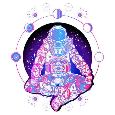 Ilustración de Astronaut in the lotus position color tattoo art. Spaceman silhouette sitting in lotus pose of yoga tattoo. Symbol of meditation, harmony, yoga. Astronaut and Universe t-shirt design - Imagen libre de derechos