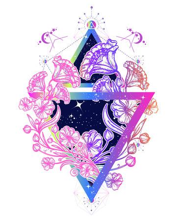 Ilustración de Flowers art nouveau in a triangle tattoo art. Graceful flowers in mystical triangle t-shirt design. Symbol of art, freedom, astronomy, mysterious knowledge tattoo - Imagen libre de derechos