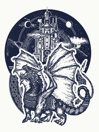 Ilustración de Dragon and castle tattoo art. Symbol force, fantasy, fairy tale. Strong dragon with celtic ornament and ancient castle  t-shirt design - Imagen libre de derechos