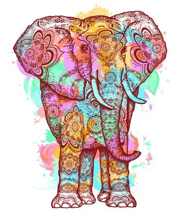 Illustration pour Color elephant t-shirt design modern art element for design, poster, gift cards. Creative art elephant and color splashes symbol meditation, wild nature, holi festival t shirt print - image libre de droit