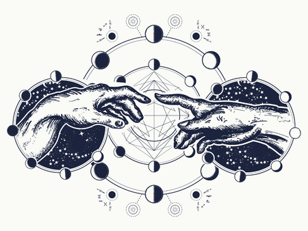 Ilustración de Hands tattoo Renaissance. Bog and Adam, symbol of spirituality, religion, connection and interaction.  Michelangelo God's touch. Human hands touching with fingers tattoo and t-shirt design - Imagen libre de derechos