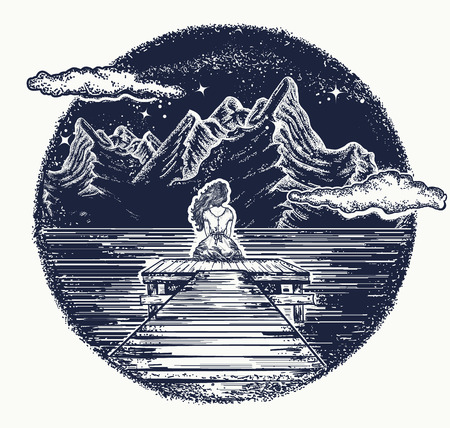 Ilustración de Mountains tattoo and t-shirt design. Girl sits on pier on mountain lake. Symbol of dream, romantic, love. Night mountain lake tattoo and t-shirt design - Imagen libre de derechos