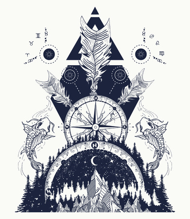 Illustration pour Mountains medieval rose compass, carps and crossed arrows tattoo and t-shirt design. Boho style, adventure, travel. Trbal tattoo. Magical symbols astrology, alchemy, meditation - image libre de droit