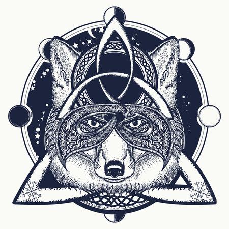 Ilustración de Fox viking tattoo and t-shirt design. Fox viking in the celtic style, tattoo art.  North tattoo animals - Imagen libre de derechos