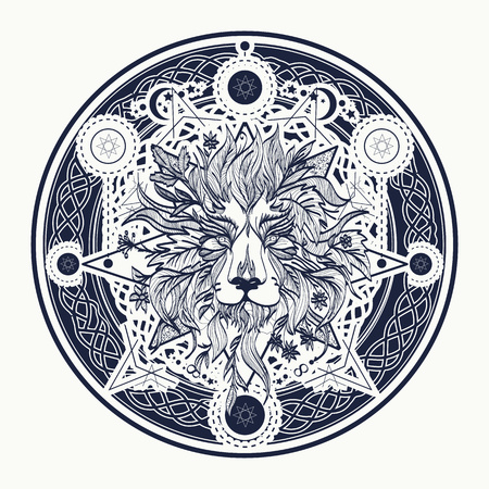 Illustration for Medieval lion tattoo and t-shirt design. Ornamental Tattoo Lion Head. Alchemy, religion, spirituality, occultism, tattoo lion art, coloring books. Mystic Lion sketch tattoo art - Royalty Free Image