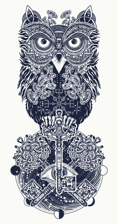 Illustration for Owl tattoo and t-shirt design. Owl, vintage crossed keys and all seeing eye in ethnic celtic style t-shirt design. Owl tattoo symbol of wisdom, meditation, thinking, mystic - Royalty Free Image