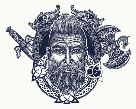 Illustrazione per Viking tattoo, Symbol of force, courage. Scandinavian mythology, viking art print t-shirt design. Bearded barbarian of Scandinavia, crossed swords, pole-axe, god Odin - Immagini Royalty Free