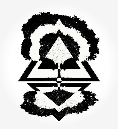 Illustration pour Magic tree tattoo for t-shirt design - image libre de droit