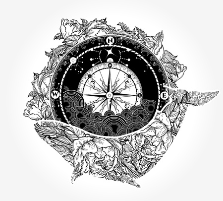 Illustration for Whale and compass tattoo and t-shirt design - Royalty Free Image