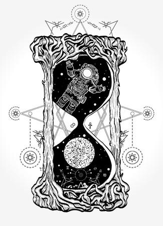 Illustration pour Hourglass mystical symbols life and death tattoo - image libre de droit