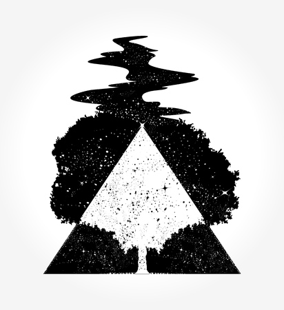 Illustration pour Tree magic tattoo and t-shirt design - image libre de droit