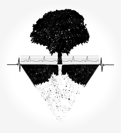 Illustration for Magic tree tattoo and t-shirt design - Royalty Free Image