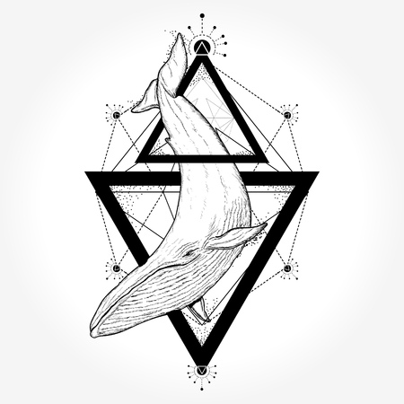 Illustration pour Creative geometric whale tattoo art t-shirt print design poster textile - image libre de droit