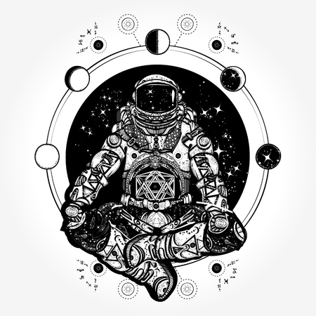 Ilustración de Spaceman silhouette sitting in lotus pose of yoga tattoo - Imagen libre de derechos