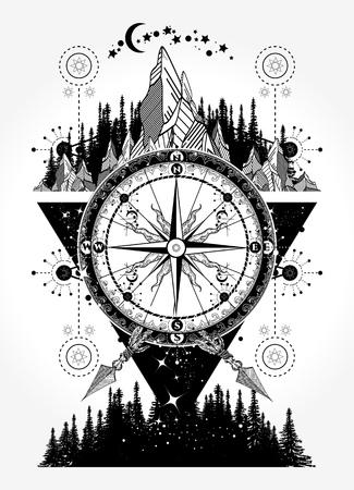 Illustration pour Mountains and antique compass tattoo art - image libre de droit