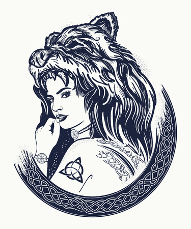 Illustration pour Warrior woman tattoo. Tribal strong woman in a skin of a bear.  Symbol of Scandinavia, valhhala, Valkyrie. Girl of the North. Woman hunter t-shirt design - image libre de droit