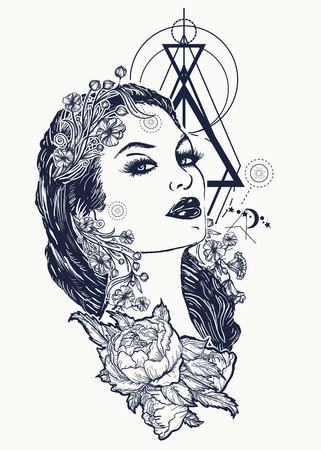 Ilustración de Art nouveau woman tattoo and t-shirt design. Symbol of a retro, queen, princess, lady, elegance, glamour, renaissance. Beautiful glamourous vintage art nouveau  woman tattoo. Noir woman - Imagen libre de derechos