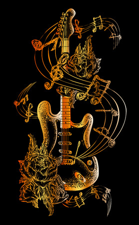 Illustration pour Guitar tattoo. Electric guitar, roses and music notes. Rock and roll t-shirt design. Symbol of rock music, musical festivals. Electric guitar tattoo art print - image libre de droit