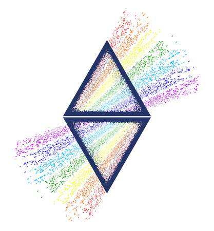 Ilustración de Dispersion. Triangle tattoo and t-shirt design. Triangular prism breaks white light ray into rainbow spectral colors. Light passing through a triangular prism tattoo - Imagen libre de derechos