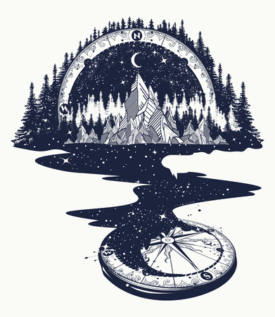 Ilustración de River of stars flows from the mountains and compass, tattoo art. Infinite space, meditation symbols, travel, tourism. Endless universe concept. Mountains tattoo, t-shirt design, surreal graphics - Imagen libre de derechos
