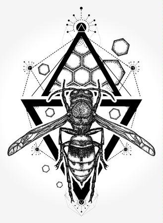 Illustration for Bee tattoo and t shirt design. Symbol of freedom, flight. Wasp tattoo. Queen Bee hand drawn vector - Royalty Free Image