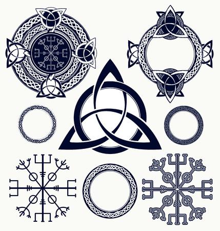 Illustration for Celtic elements tattoo and t-shirt design. Helm of Awe, aegishjalmur, celtic trinity knot, tattoo. Celtic set vector - Royalty Free Image