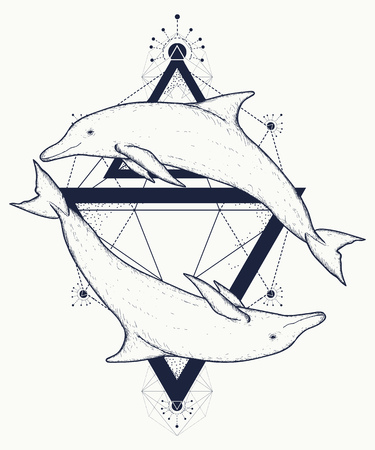 Illustration for Two dolphins tattoo, love symbols, love tattoo, two dolphins geometric art style, tribal totem animals, t-shirt design. Adventure, travel, outdoors tattoo. Dolphins in triangles marine tattoo - Royalty Free Image