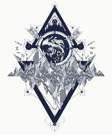 Ilustración de Eagle tattoo art, mountains, crossed arrows, forest. Eagle creative t-shirt design, spirituality, boho, magic symbol. Astrological symbols, ethnic style, falcon in rocks tattoo - Imagen libre de derechos