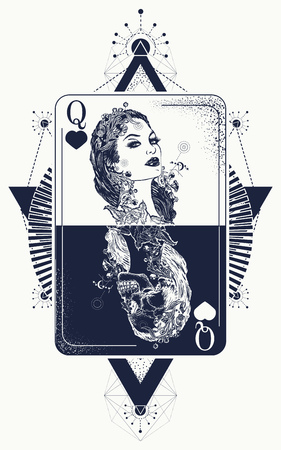 Illustration for Queen in card tattoo and t-shirt design. - Royalty Free Image