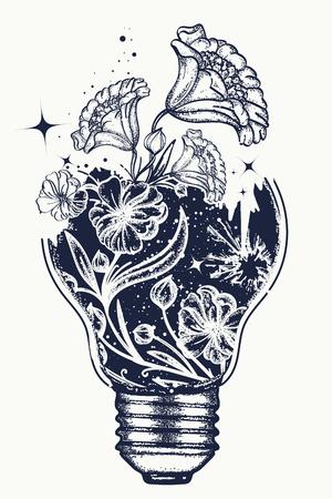 Ilustración de Light bulb tattoo and art Nouveau flowers t-shirt design. Symbol of the idea, creativity, creative, imagination, freedom. Tattoo light bulb - Imagen libre de derechos