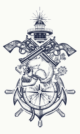 Illustration pour Skull and guns, anchor, steering wheel, compass, lighthouse, tattoo art. Symbol of maritime adventure, pirate, criminal. Pirate skull, revolver, anchor and lighthouse t-shirt design - image libre de droit