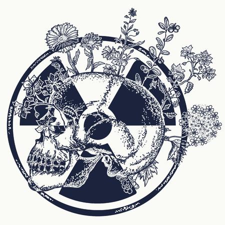 Ilustración de Atomic skull tattoo and t-shirt design. Symbol of nuclear war, end of world, dangers of nuclear energy - Imagen libre de derechos