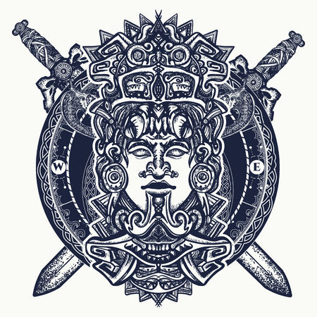 Illustration for Ancient aztec totem, Mexican god warrior and crossed swords. Ancient Mayan civilization. Indian mayan carved in stone tattoo art. Mayan tattoo and t-shirt design - Royalty Free Image