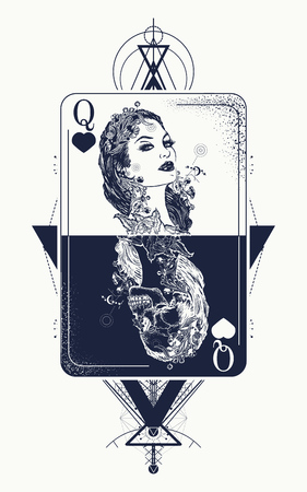 Illustration for Queen playing card sacred geometry tattoo and t-shirt design. Tarot cards, success and defeat, casino, poker tattoo. Beautiful girl and queen skeleton, Gothic playing card. Symbol of gambling - Royalty Free Image