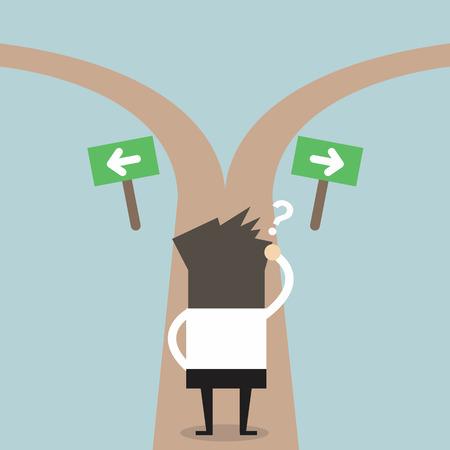 Illustration pour Businessmen hesitate to choose path. decision concept. - image libre de droit