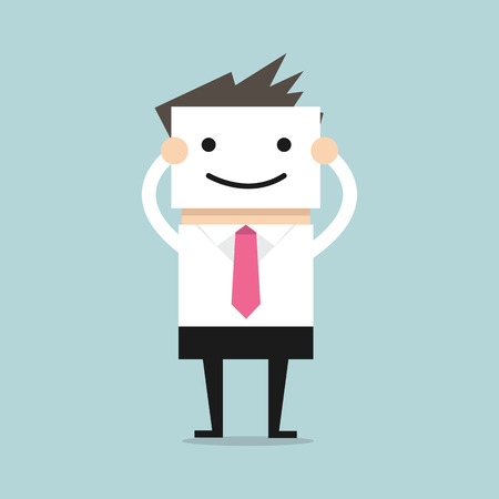 Illustrazione per Businessman hide his real face by holding smile mask - Immagini Royalty Free