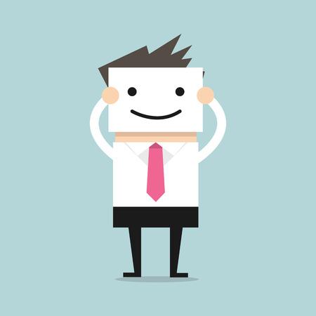 Illustration pour Businessman hide his real face by holding smile mask - image libre de droit
