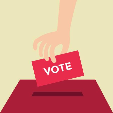 Illustration pour Vote ballot with box. Vector illustration, flat design - image libre de droit