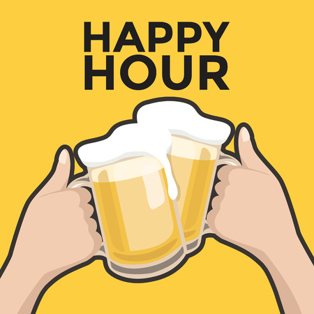 Illustration pour Happy hour toasting with beer - image libre de droit