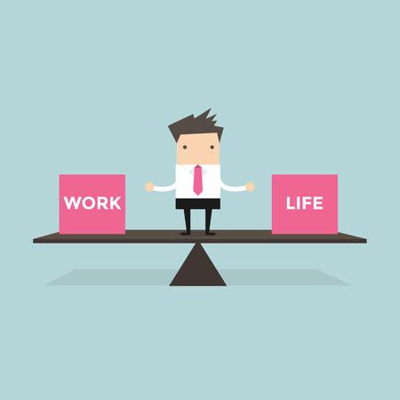 Illustration pour Businessman balance Work and life - image libre de droit