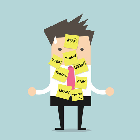 Illustration pour Businessman with a lot of short note for urgent work - image libre de droit