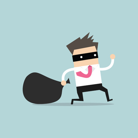 Illustration for Businessman in burglar mask flees with stolen bag - Royalty Free Image