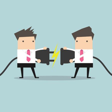 Ilustración de Two businessman trying to connect electric plug vector - Imagen libre de derechos