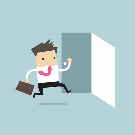 Illustration for Businessman running to opened door vector - Royalty Free Image