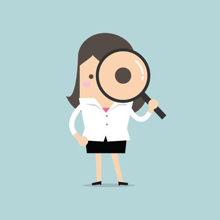 Illustration pour Businesswoman looking through a magnifying glass - image libre de droit