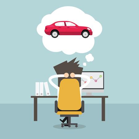 Ilustración de Businessman dreaming about new car. Vector - Imagen libre de derechos