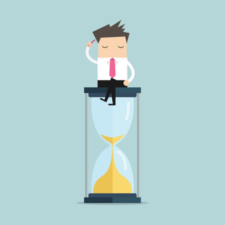 Illustration pour Businessman keeps thinking and sitting on a hourglass, creative thinking. vector - image libre de droit