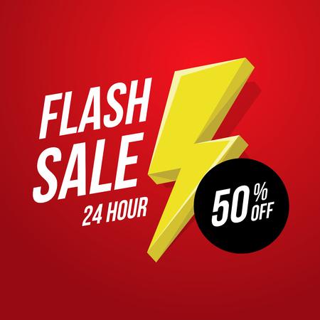Illustration for 24 hour Flash Sale banner template illustration. - Royalty Free Image